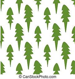 modèle, hiver, mesquin, arbres, blanc, fourrure, seamless, spruce., arrière-plan.