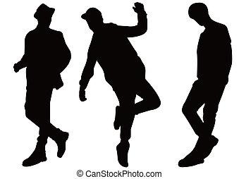 modèle, hommes, silhouette