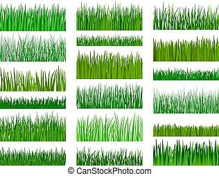modèle, horizontal, herbe, frontière, seamless