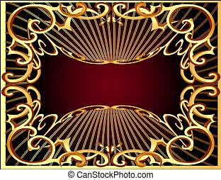 modèle horizontal, rayon, fond, gold(en), cadre