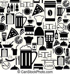 modèle, icon., seamless, fond, restaurant
