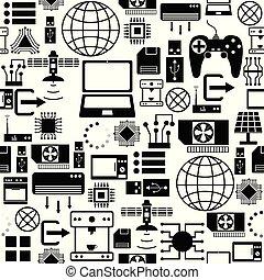 modèle, icon., technologie, seamless, fond