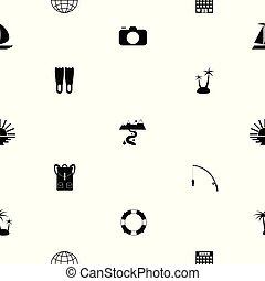 modèle, icon., tourisme, seamless, fond