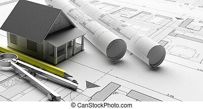 modèle, illustration, bureau., 3d, entrepreneur, ingénieur, maison, fond, modèles