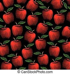 modèle, illustration, vecteur, pommes, fond, vendange, gravé