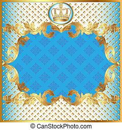 modèle, invitation, bleu, or, fond, couronne