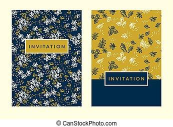 modèle, invitation, floral, naïf, simple