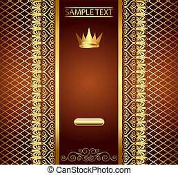 modèle, invitation, or, fond, brun, couronne
