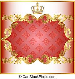 modèle, invitation, or, fond, rose, couronne