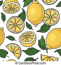 modèle, jaune, seamless, citrons