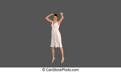 modèle, jeune, élégant, robe, blanc