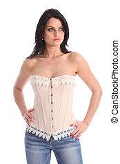 modèle, jeune, corset, beau, mode, porter