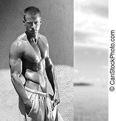 modèle, jeune, fitness