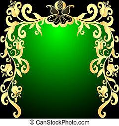 modèle, légume, fond, gold(en), vert, cadre