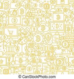 modèle, ligne, blanc, bitcoin, seamless