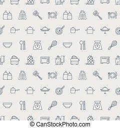 modèle, ligne, ensemble, cuisine, icône