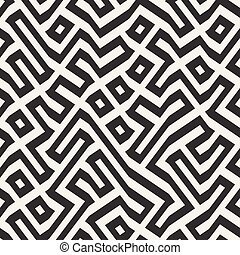 modèle, lignes, seamless, vecteur, labyrinthe, géométrique