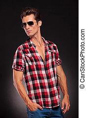 modèle, mâle, lunettes soleil, jeune, beau