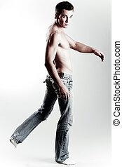 modèle, mâle, sans chemise, causal