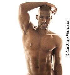 modèle, mâle, sensuelles