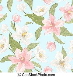 modèle, magnolia, seamless, ellébore, sakura, fleurs