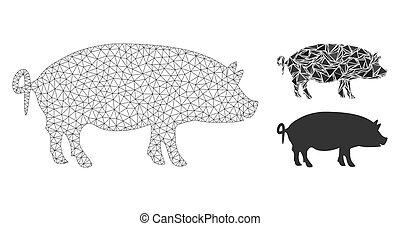 modèle, maille, mosaïque, vecteur, icône, fil, triangle, porcs, cadre