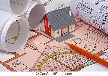 modèle, maison, architecture