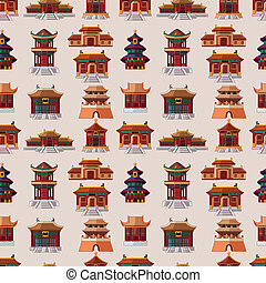 modèle, maison, seamless, dessin animé, chinois