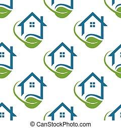 modèle, maison, vie, illustration, seamless, vecteur, graphique, vert, arrière-plan.
