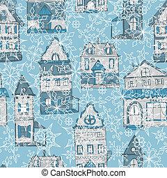 modèle, maisons, vecteur, flocons neige, seamless