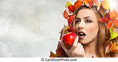 modèle, manger, automnal, pomme