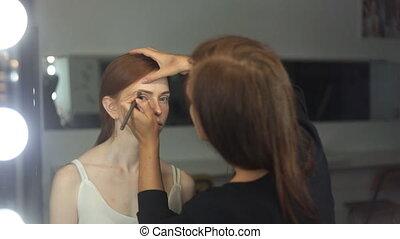 modèle, maquillage, demande, artiste