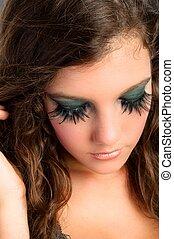 modèle, maquillage, jeune, joli, séduisant