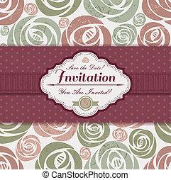 modèle, mariage, fond, invitation, floral, carte