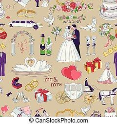 modèle, mariage, seamless, icônes