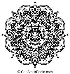 modèle, mehndi, indien, tatouage, henné