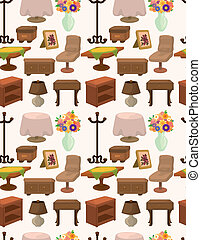 modèle, meubles, seamless, dessin animé