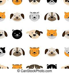 modèle, mignon, seamless, chat, chien, faces.
