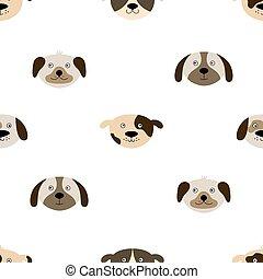 modèle, mignon, seamless, chien, faces.