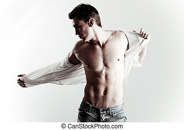 modèle, mode, coup, jeune, mâle