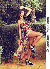 modèle, mode, jeune femme, jardin, beau