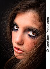 modèle, mode, maquillage, extrême