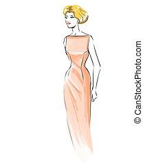modèle, mode, robe, retro