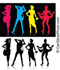 modèle, mode, silhouettes