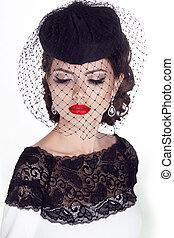 modèle, mode, woman., isolé, arrière-plan., portrait., retro, portrait, girl, blanc