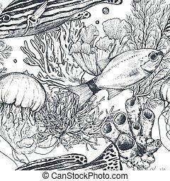 modèle, monochrome, poisson tropical, vecteur, mer, seamless