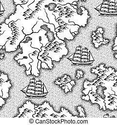 modèle, nautique, vieux, map., seamless
