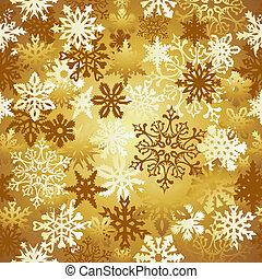 modèle, noël, or, flocons neige