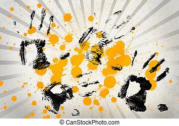 modèle, noir, eclabousse, linéaire, gris, peinture jaune, caractères, main, blanc