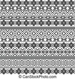 modèle, -, noir, motifs, ethnique, blanc